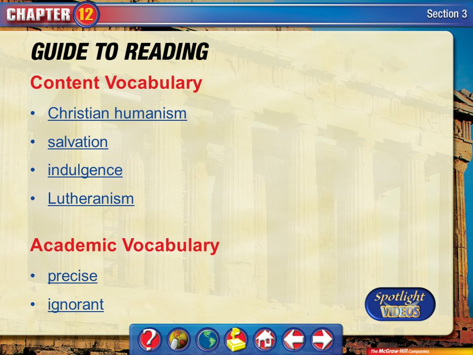 Content Vocabulary Academic Vocabulary Christian humanism salvation