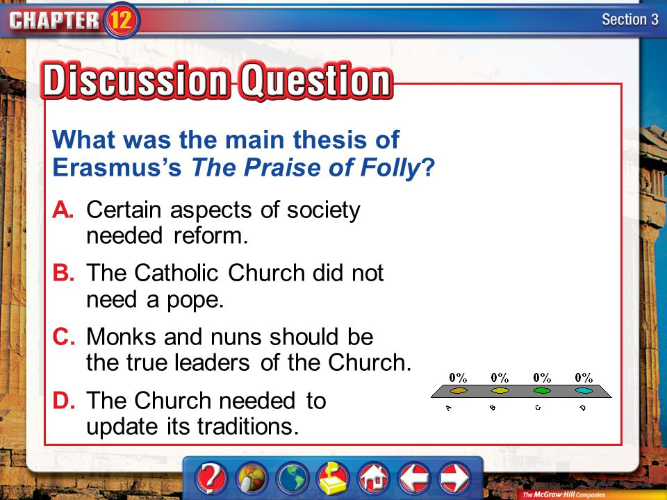 What was the main thesis of Erasmus's The Praise of Folly