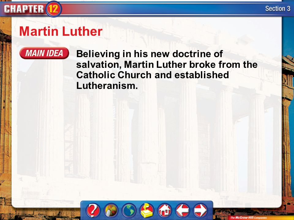 Martin Luther Believing in his new doctrine of salvation, Martin Luther broke from the Catholic Church and established Lutheranism.