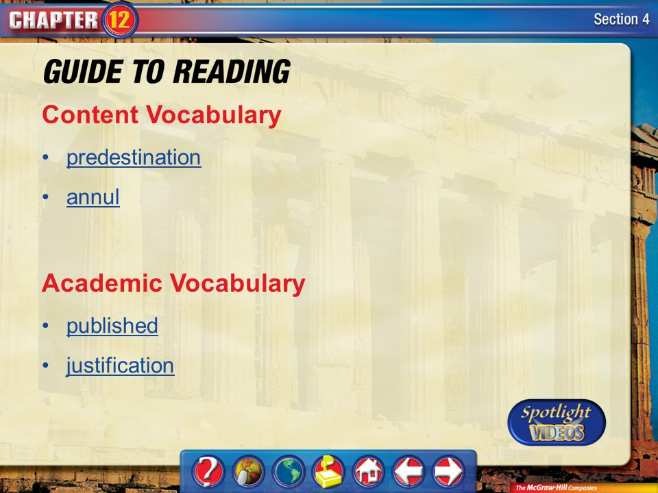 Content Vocabulary Academic Vocabulary predestination annul published