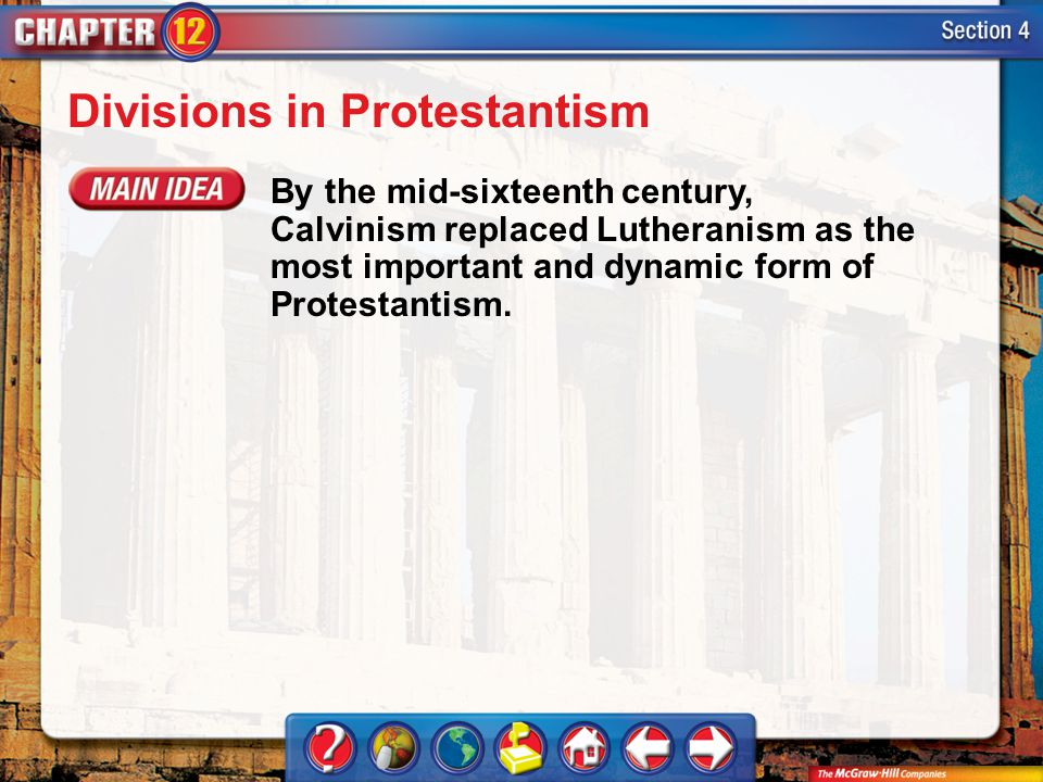 Divisions in Protestantism