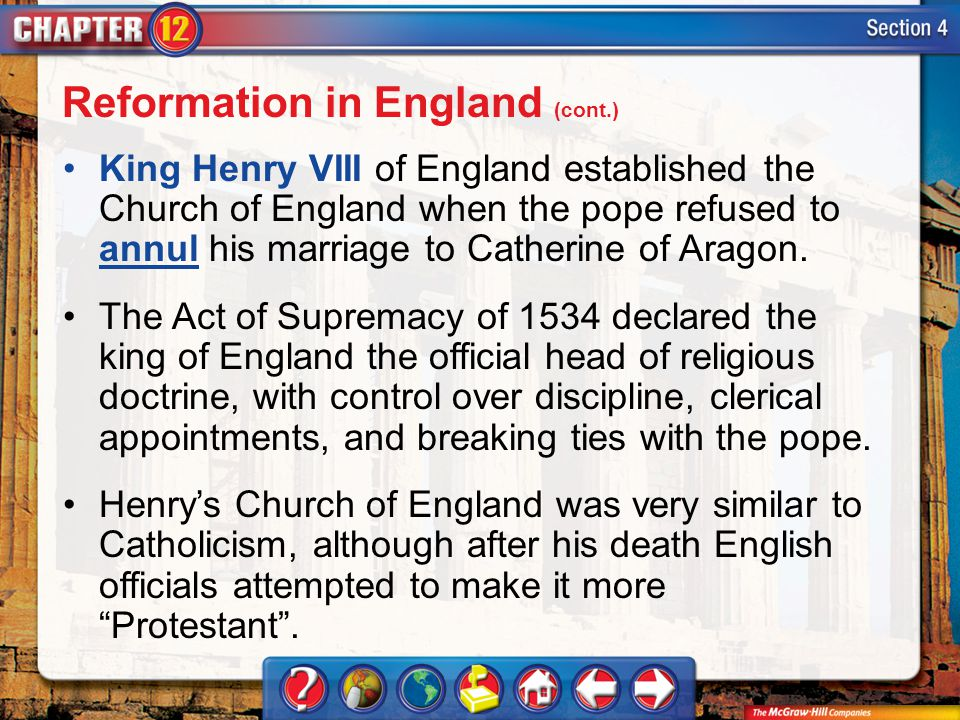 Reformation in England (cont.)