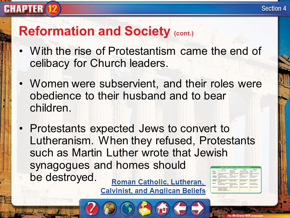 Reformation and Society (cont.)