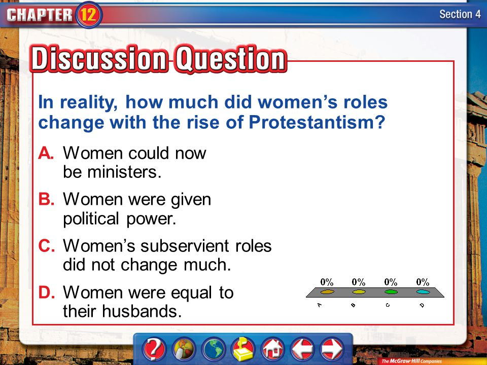 In reality, how much did women's roles change with the rise of Protestantism