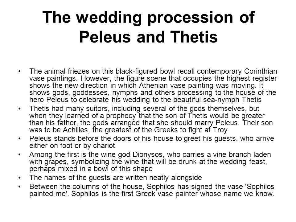 The wedding procession of Peleus and Thetis
