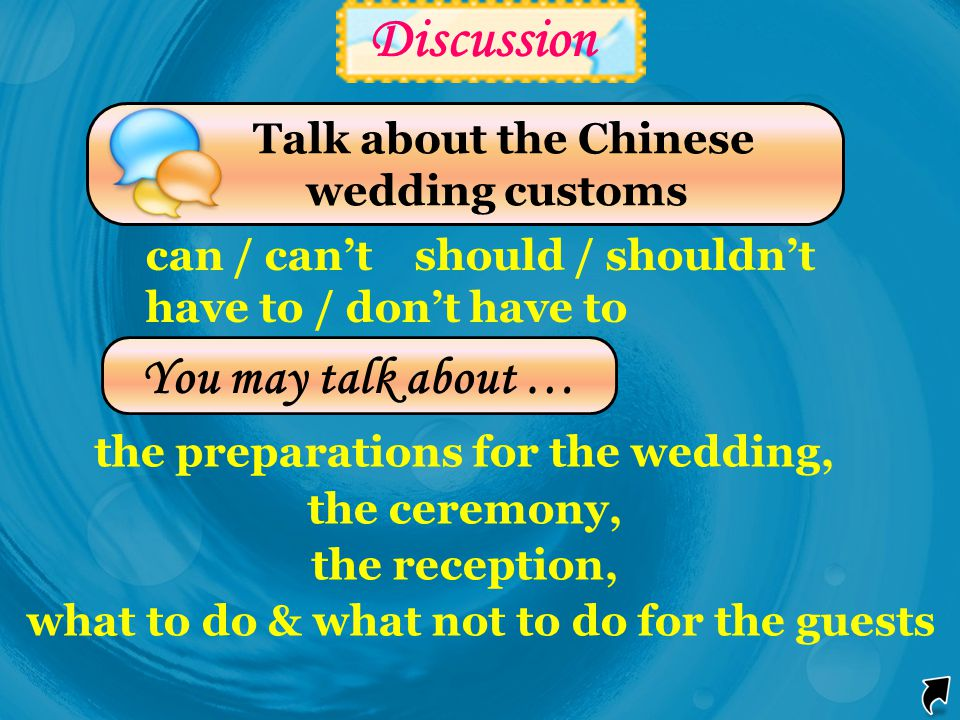 Discussion You may talk about … Talk about the Chinese wedding customs