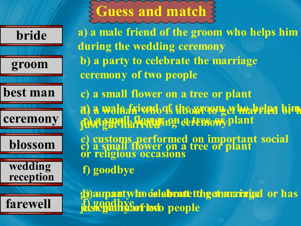 Guess and match bride groom best man ceremony blossom
