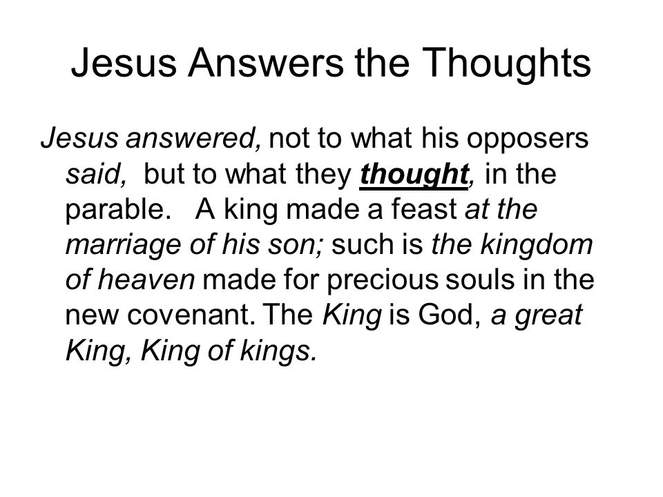 Jesus Answers the Thoughts