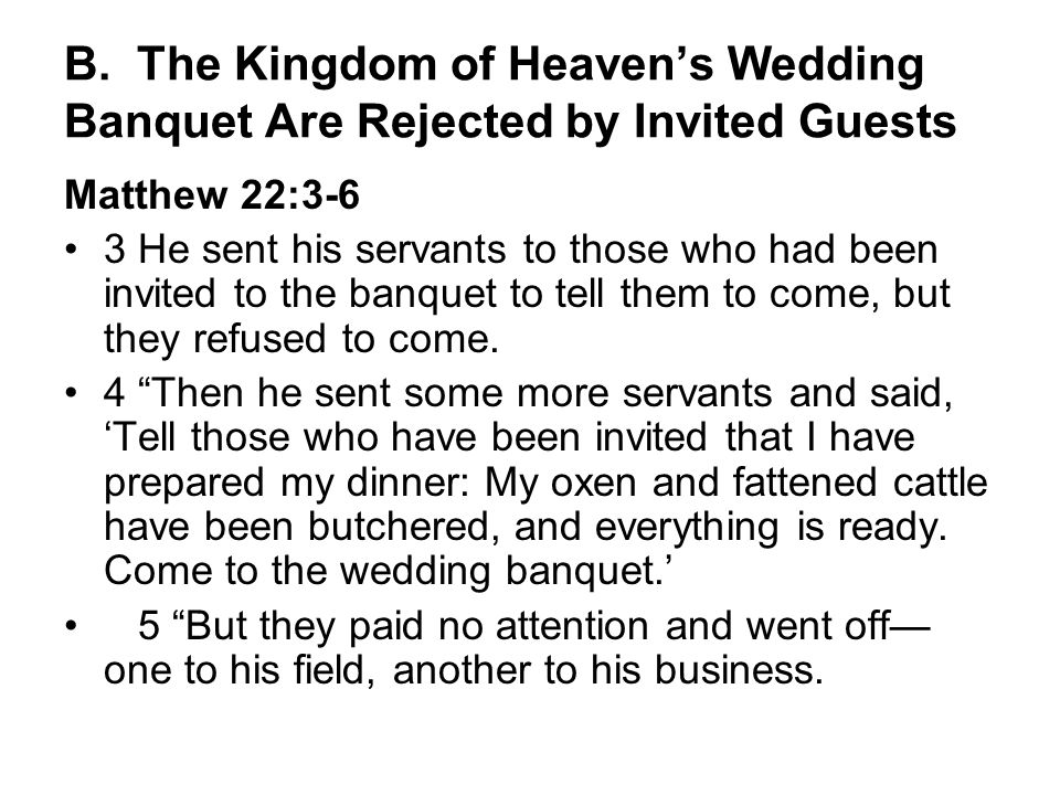B. The Kingdom of Heaven's Wedding Banquet Are Rejected by Invited Guests