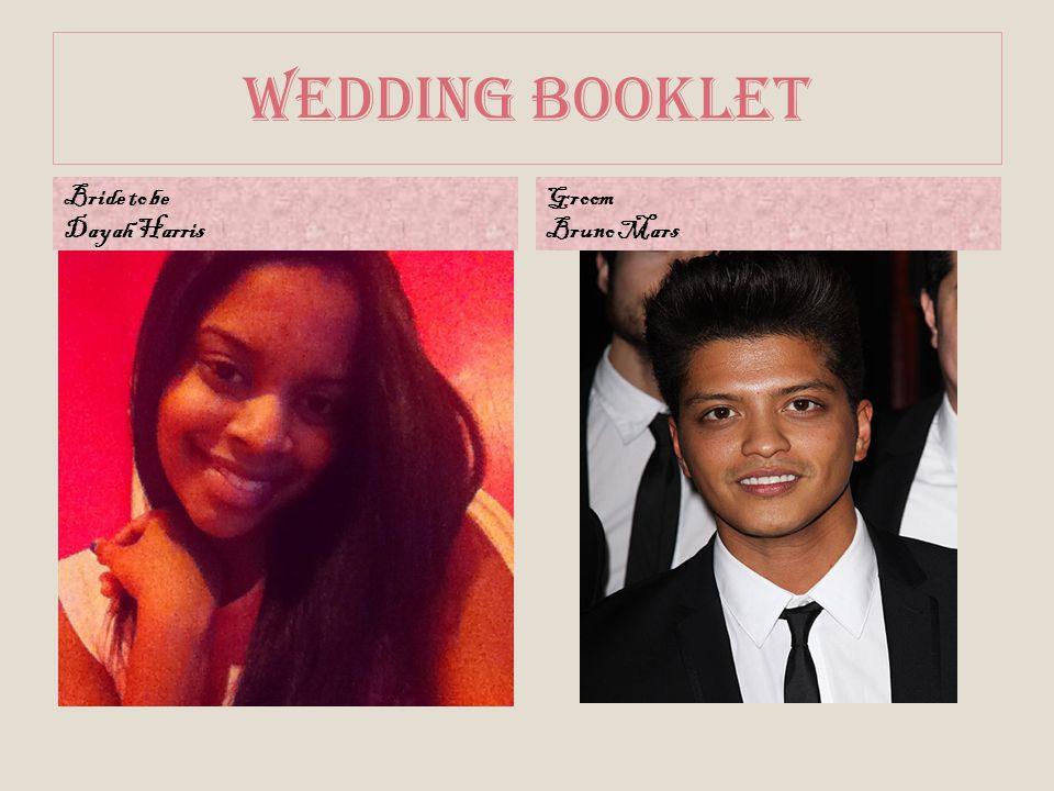 Wedding Booklet Bride to be Dayah Harris Groom Bruno Mars