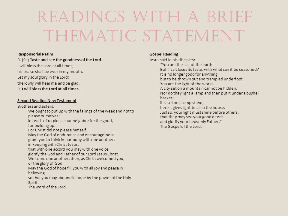Readings with a brief thematic statement