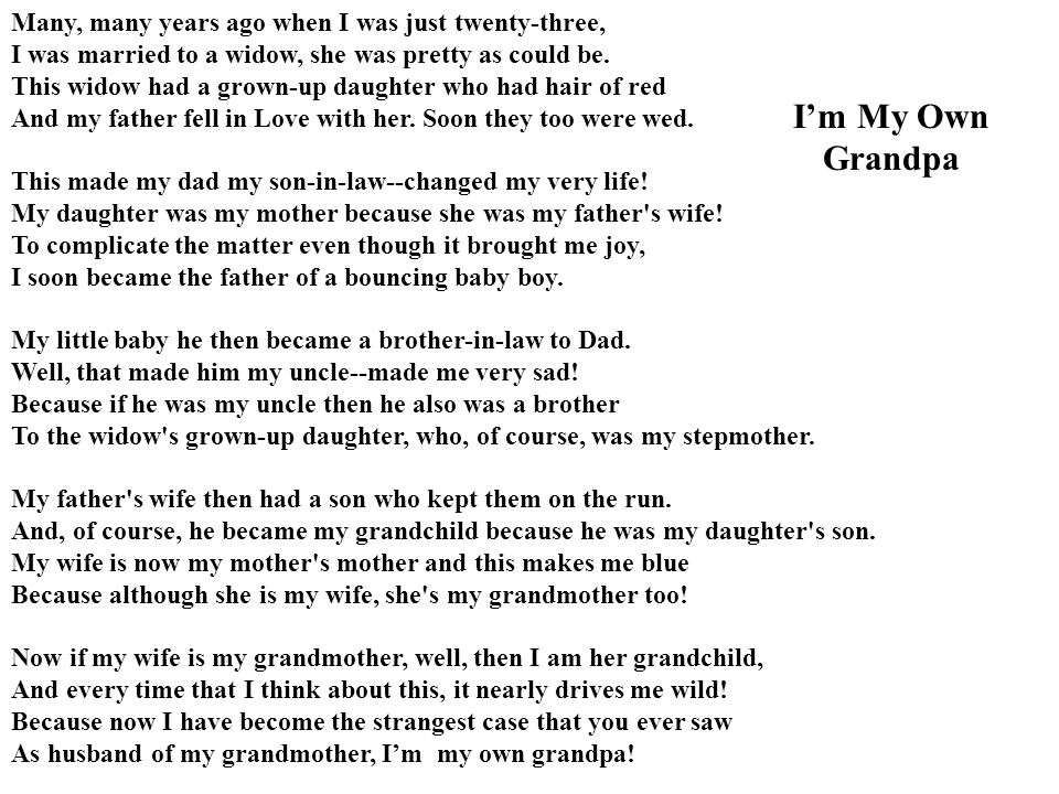 I'm My Own Grandpa Many, many years ago when I was just twenty-three,