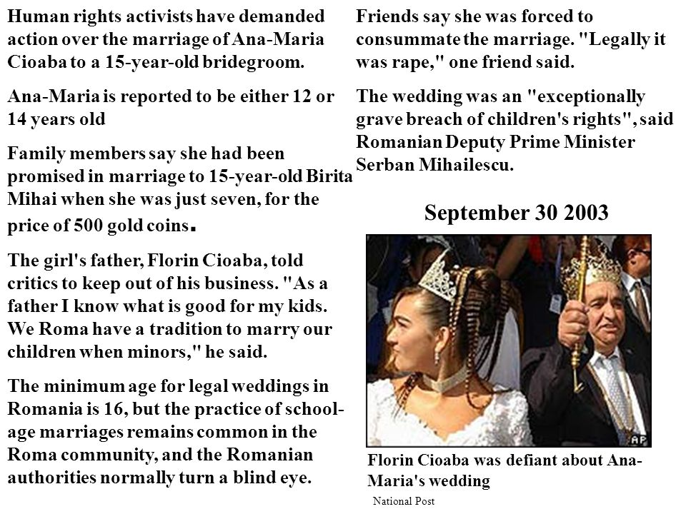 Human rights activists have demanded action over the marriage of Ana-Maria Cioaba to a 15-year-old bridegroom.