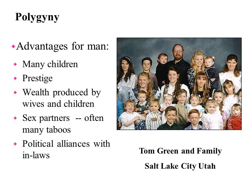 Polygyny Advantages for man: Many children Prestige