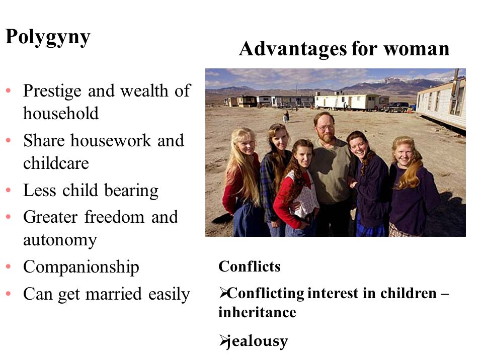 Polygyny Advantages for woman Prestige and wealth of household