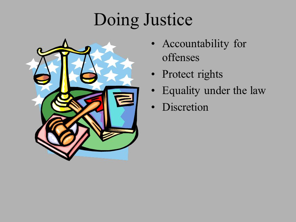 Doing Justice Accountability for offenses Protect rights