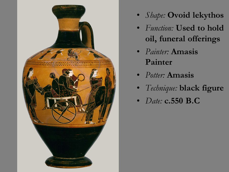 Shape: Ovoid lekythos Function: Used to hold oil, funeral offerings. Painter: Amasis Painter. Potter: Amasis.