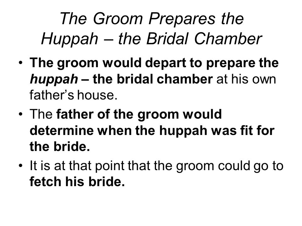 The Groom Prepares the Huppah – the Bridal Chamber