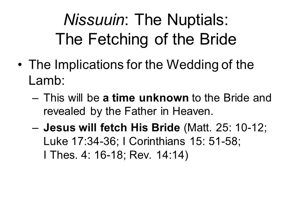Nissuuin: The Nuptials: The Fetching of the Bride