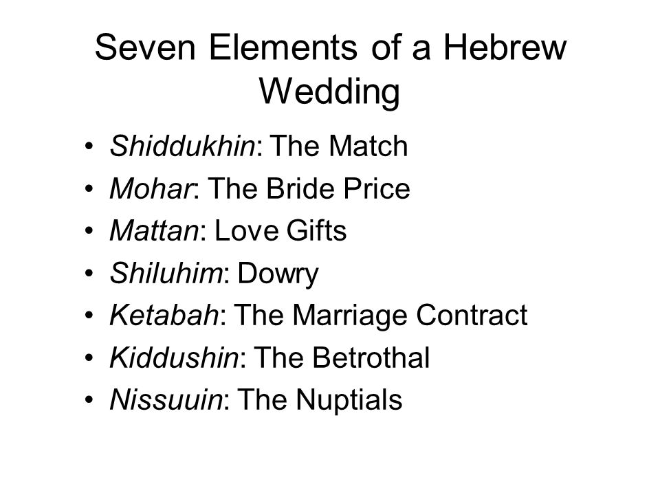 Seven Elements of a Hebrew Wedding
