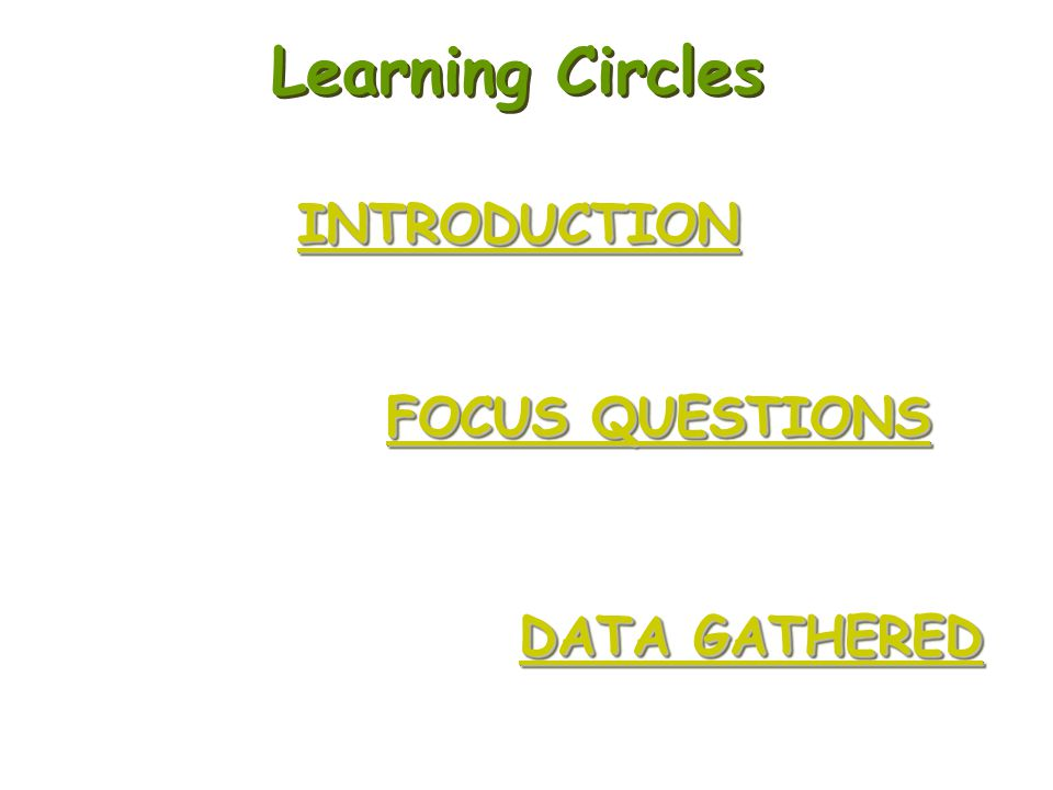 Learning Circles INTRODUCTION FOCUS QUESTIONS DATA GATHERED