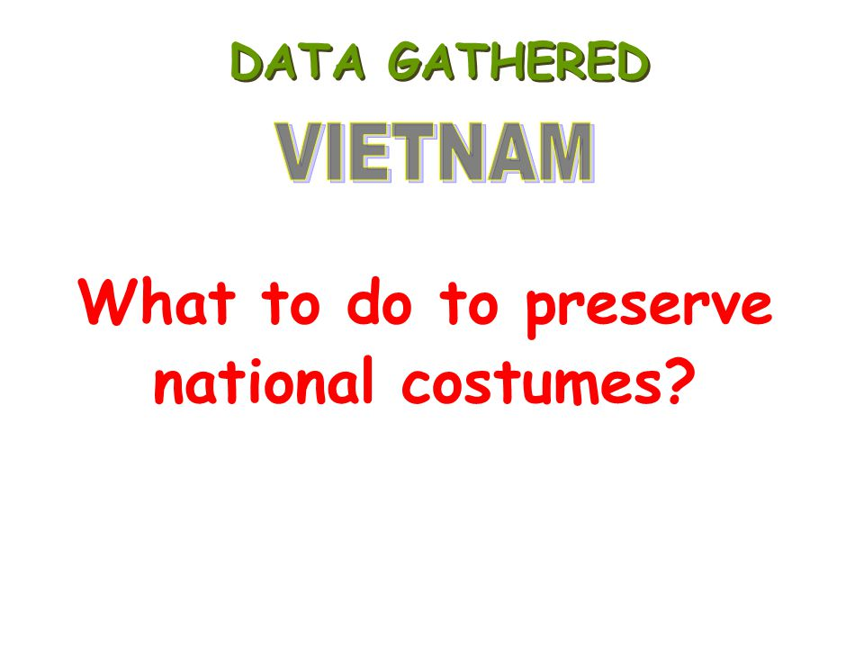 What to do to preserve national costumes