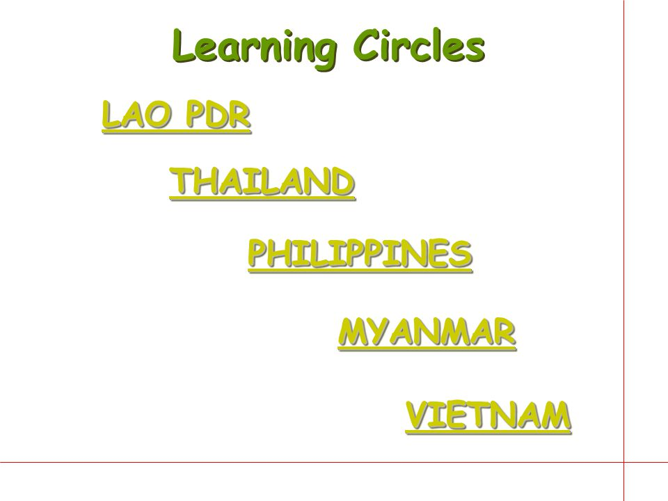 Learning Circles LAO PDR THAILAND PHILIPPINES MYANMAR VIETNAM