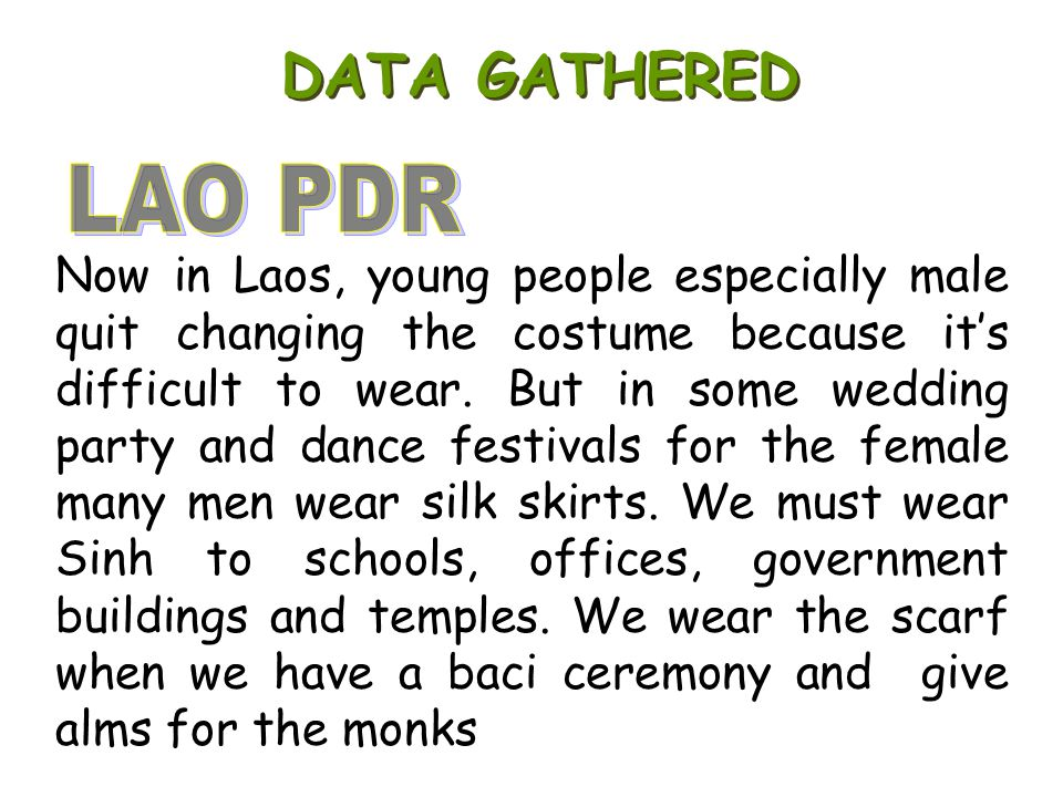 DATA GATHERED LAO PDR.