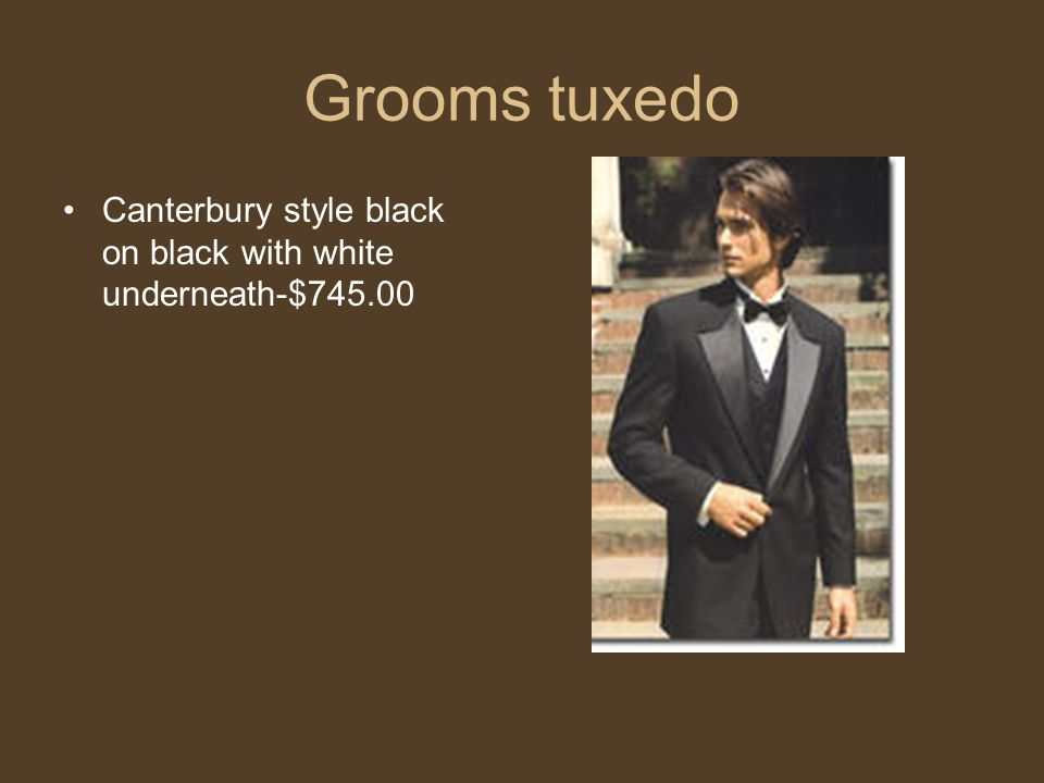Grooms tuxedo Canterbury style black on black with white underneath-$745.00