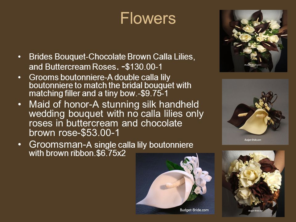 Flowers Brides Bouquet-Chocolate Brown Calla Lilies, and Buttercream Roses. -$130.00-1.