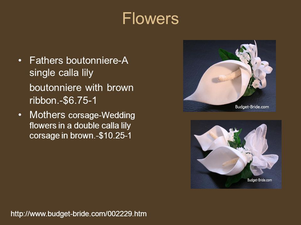Flowers Fathers boutonniere-A single calla lily boutonniere with brown ribbon.-$6.75-1.