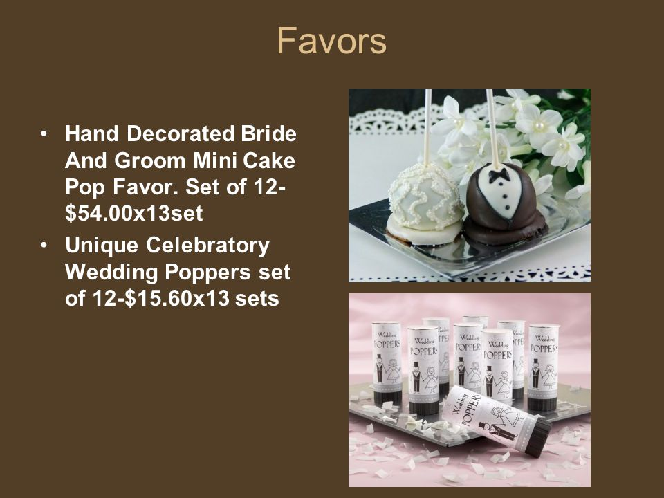 Favors Hand Decorated Bride And Groom Mini Cake Pop Favor.