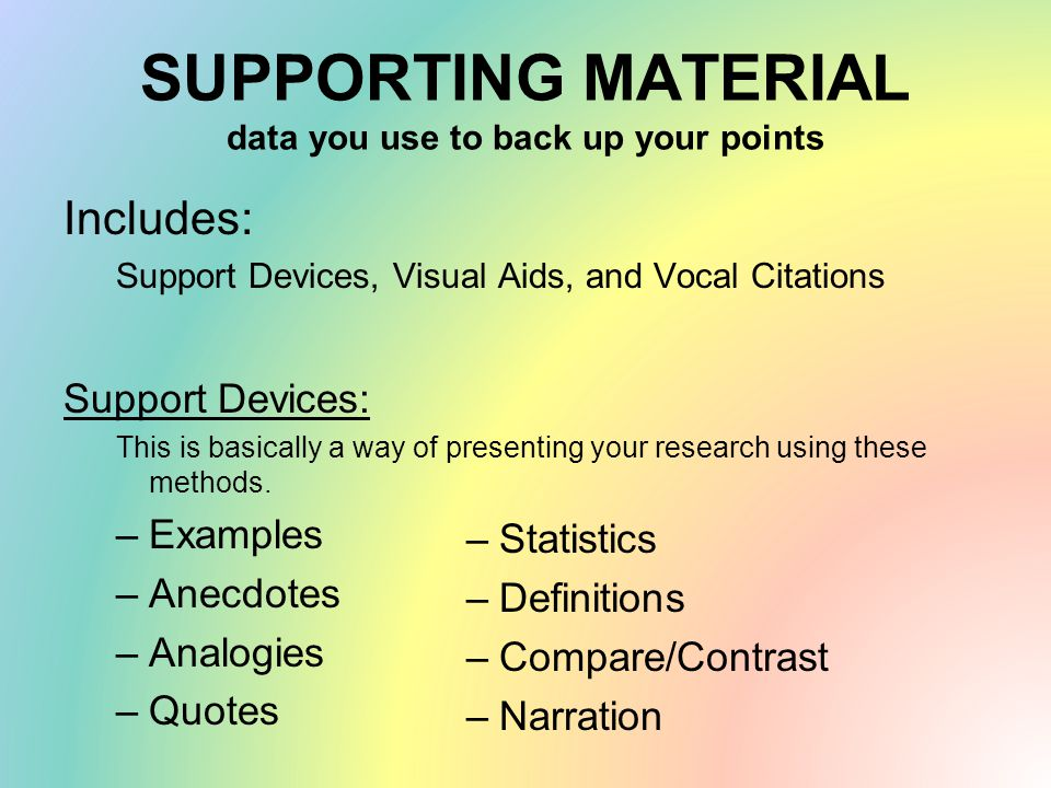 SUPPORTING MATERIAL data you use to back up your points