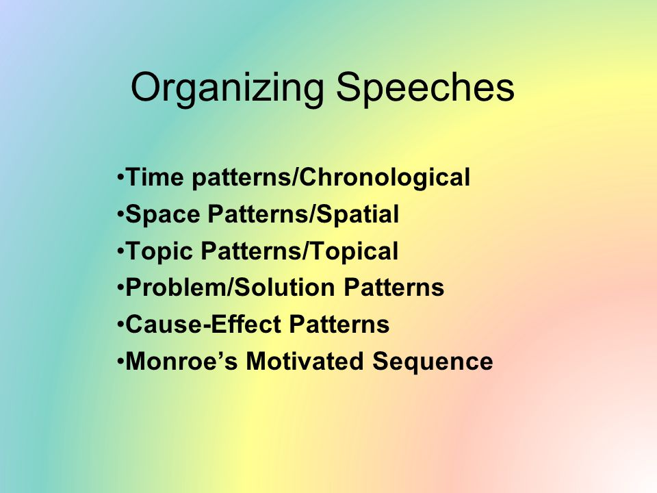 Organizing Speeches Time patterns/Chronological Space Patterns/Spatial