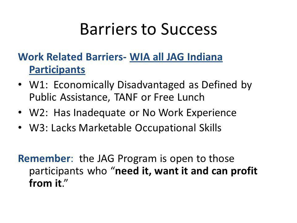 Barriers to Success Work Related Barriers- WIA all JAG Indiana Participants.