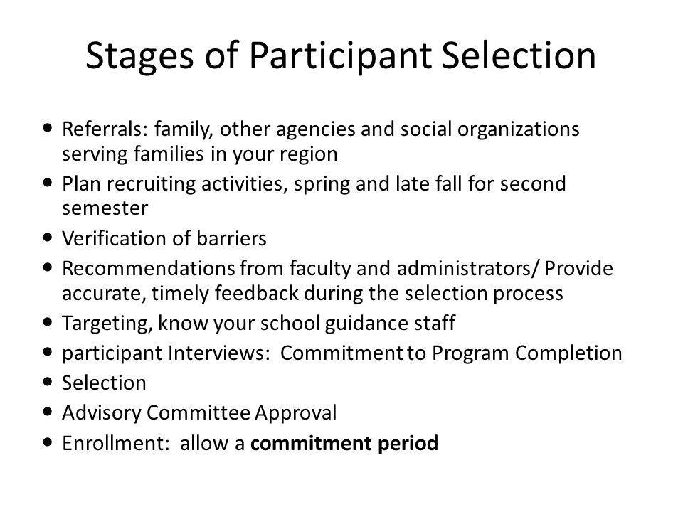 Stages of Participant Selection