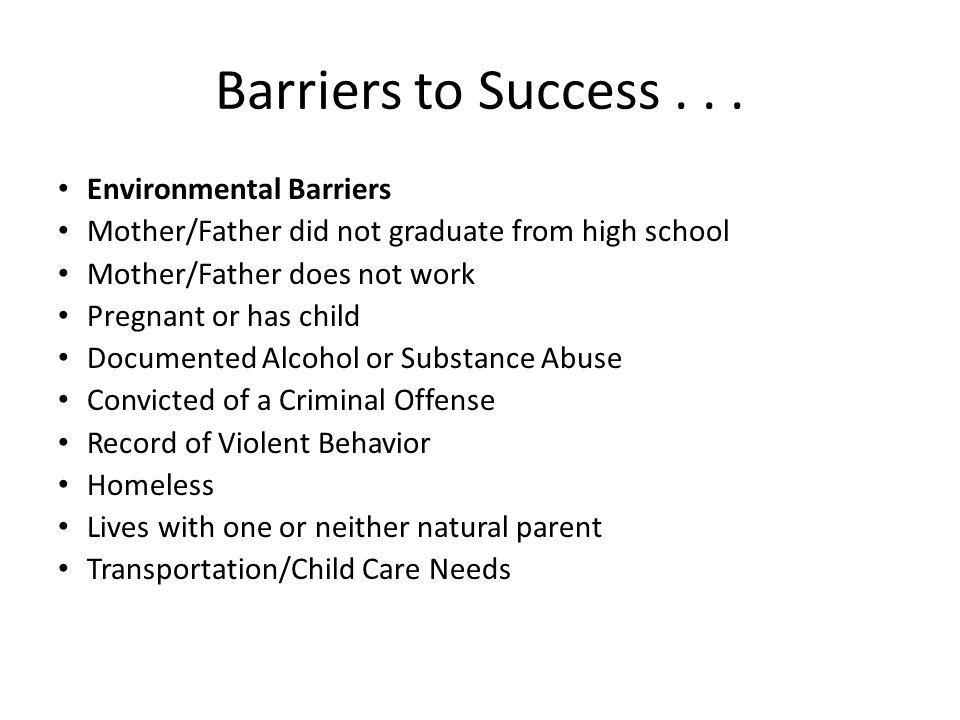 Barriers to Success . . . Environmental Barriers