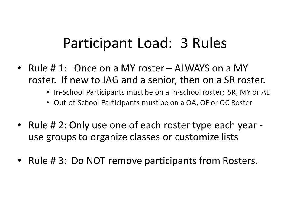 Participant Load: 3 Rules