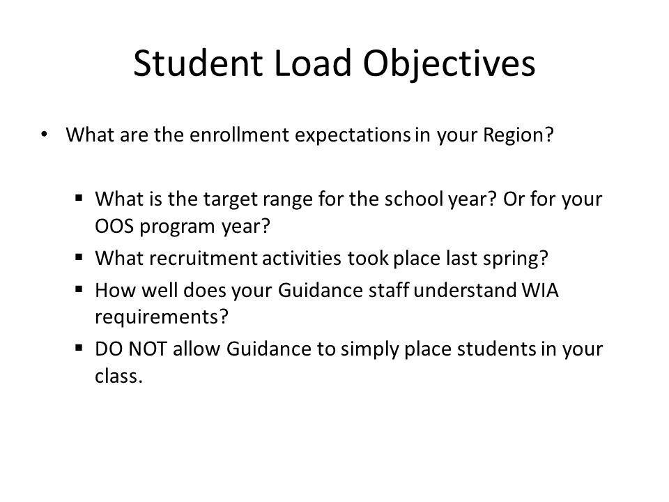Student Load Objectives