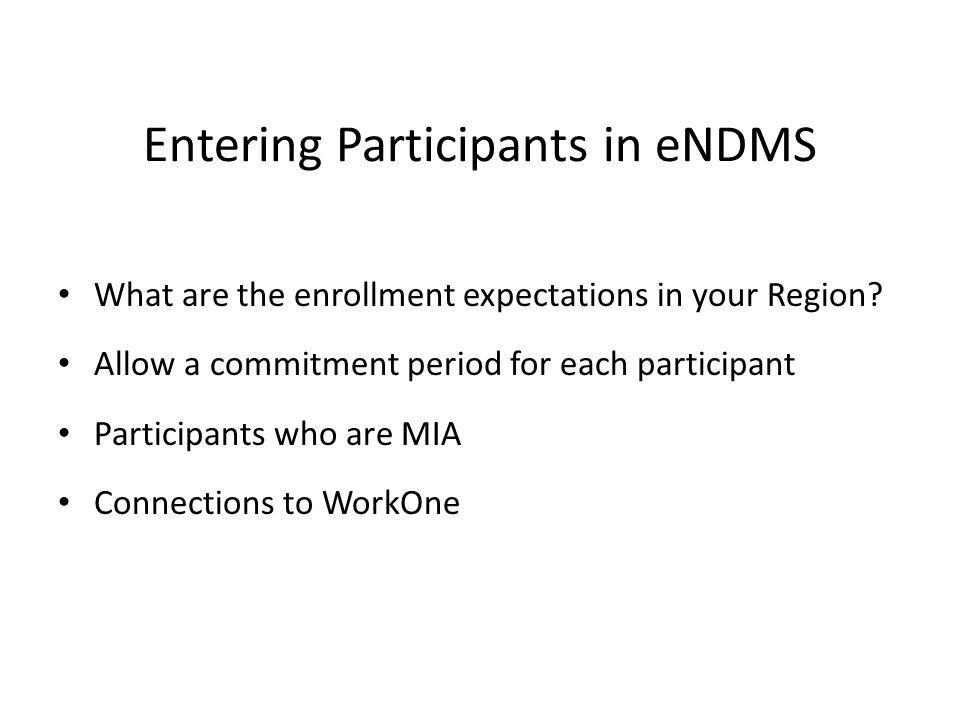Entering Participants in eNDMS