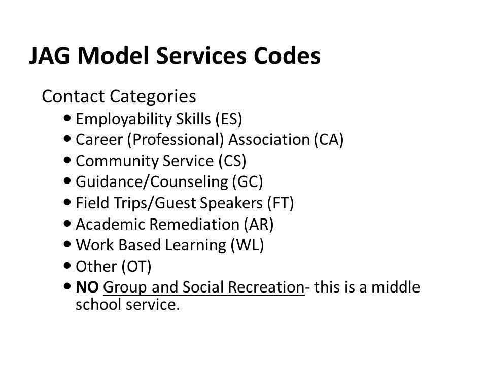 JAG Model Services Codes