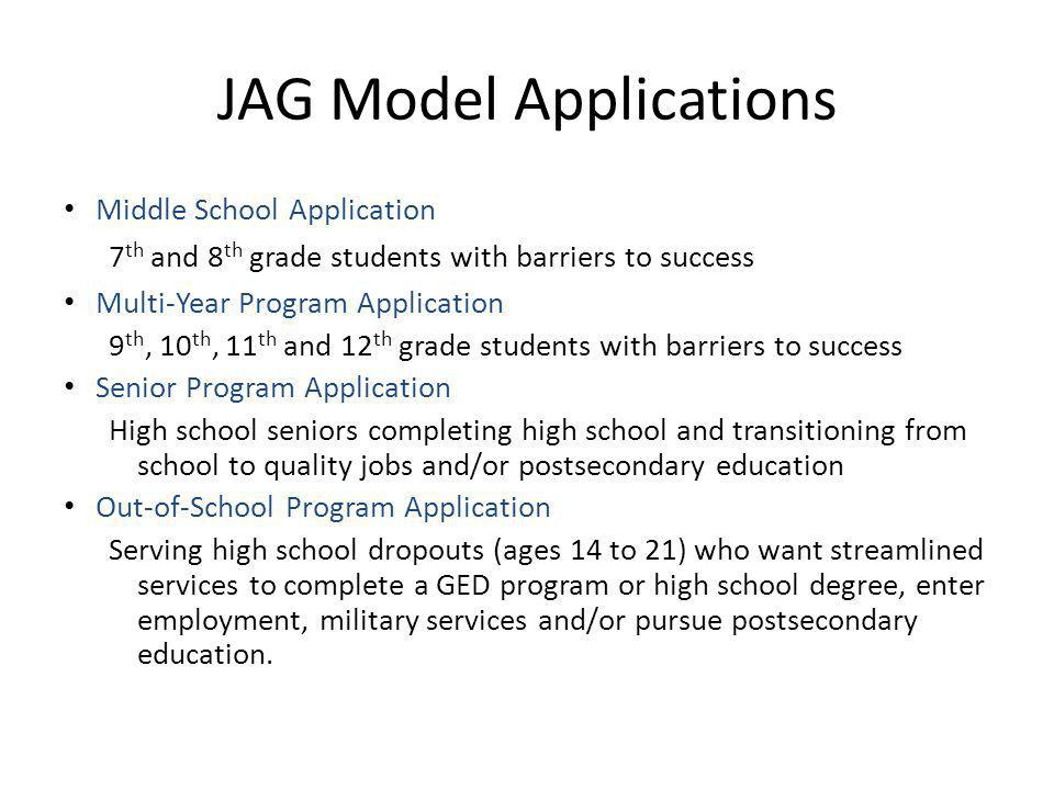 JAG Model Applications