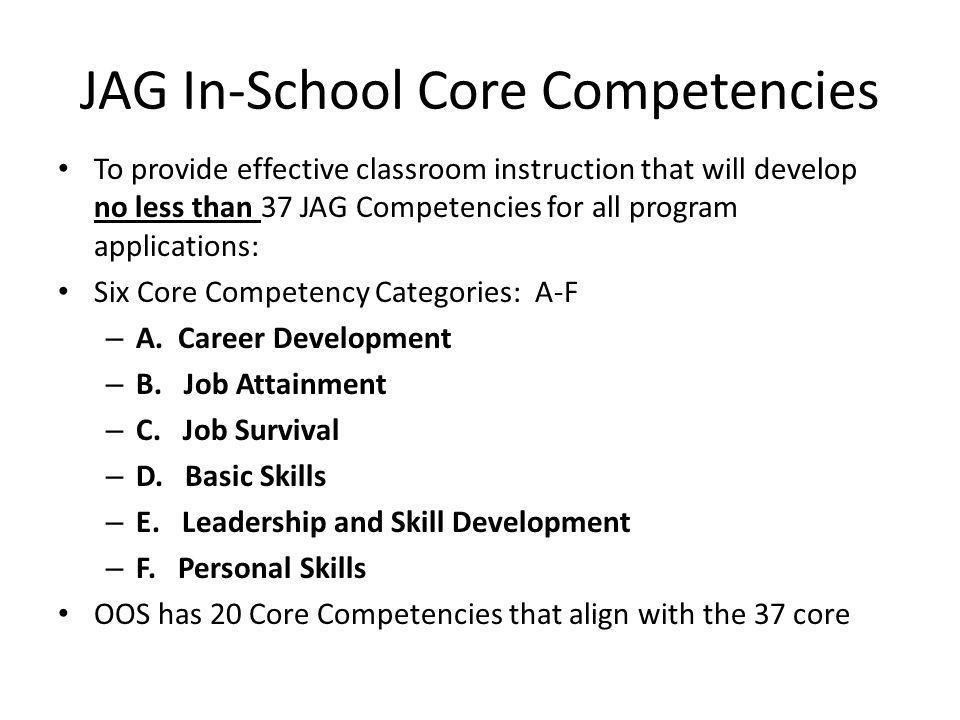 JAG In-School Core Competencies