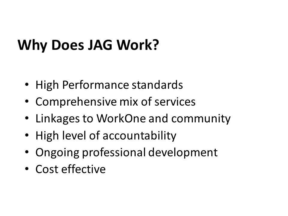 Why Does JAG Work High Performance standards