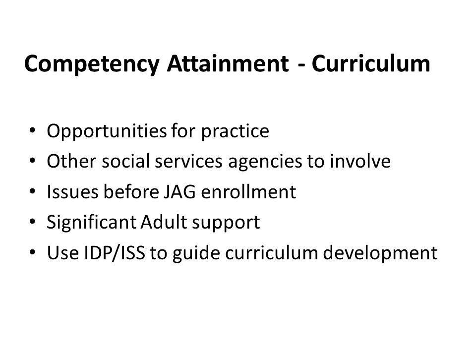 Competency Attainment - Curriculum