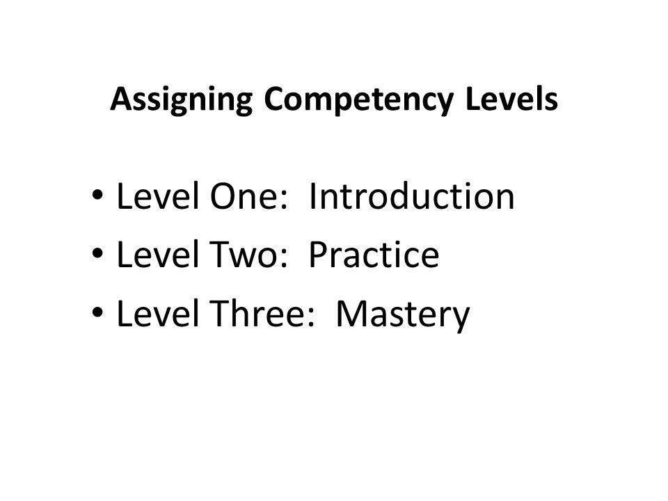 Assigning Competency Levels