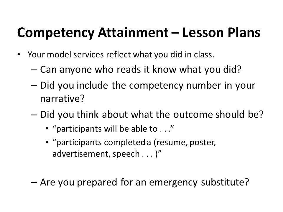 Competency Attainment – Lesson Plans