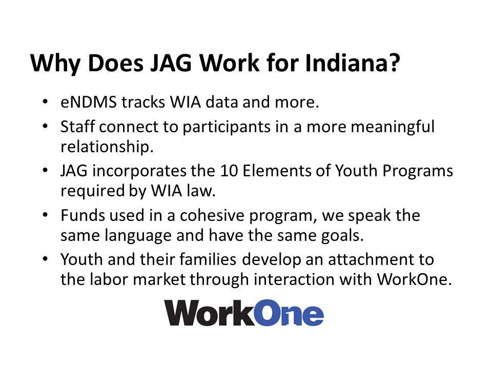 Why Does JAG Work for Indiana