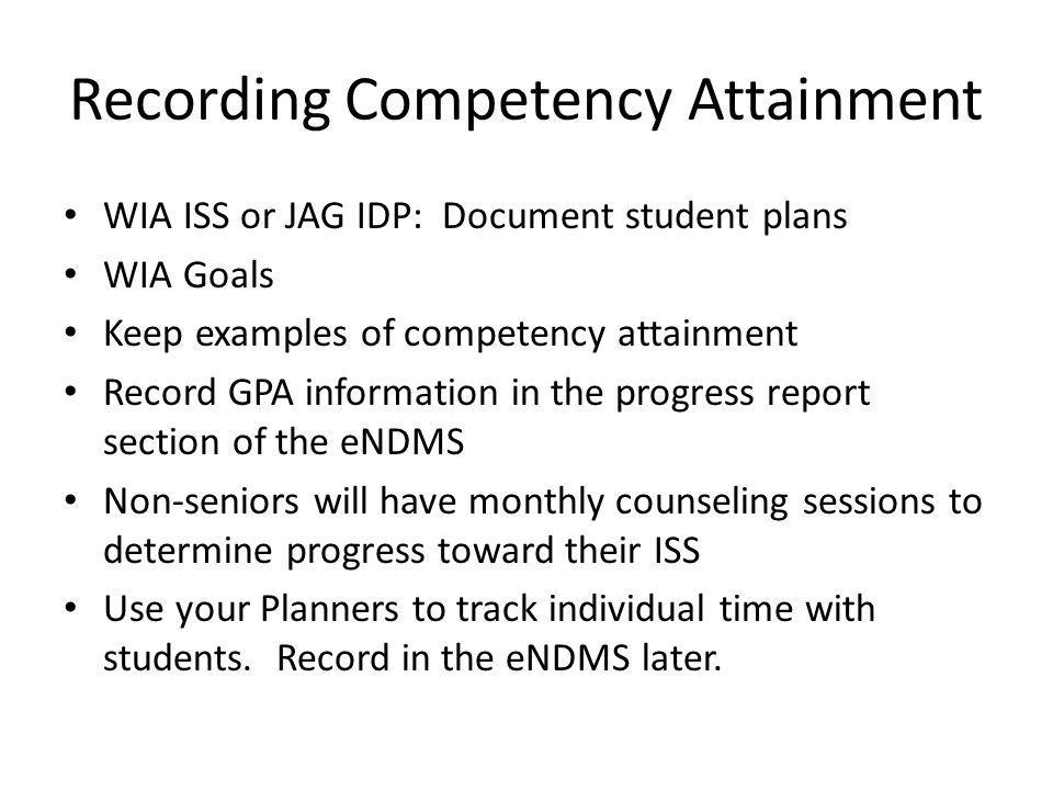 Recording Competency Attainment
