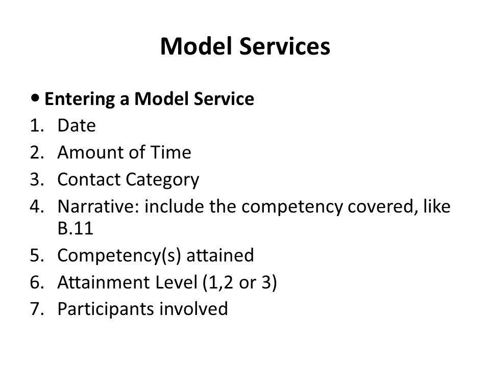 Model Services Entering a Model Service Date Amount of Time